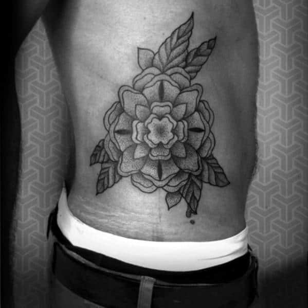 Rib Cage Side Geometric Rose Tattoo Ideas For Gus