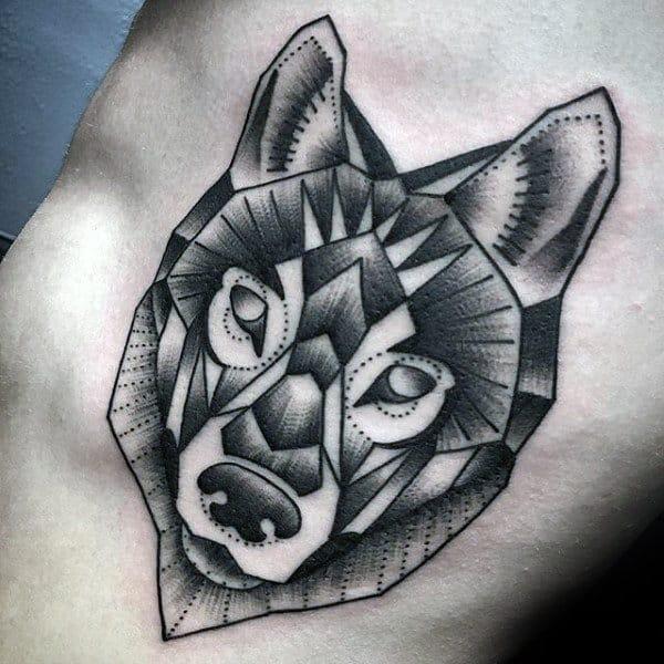 Rib Cage Side Geometric Wolf Mens Tattoos