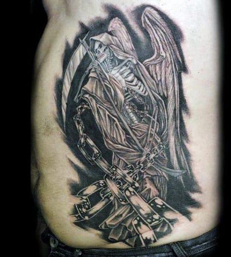 Rib Cage Side Grim Reaper Men's Tattoos
