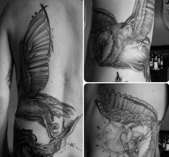 Rib Cage Side Guys Barn Owl Tattoo