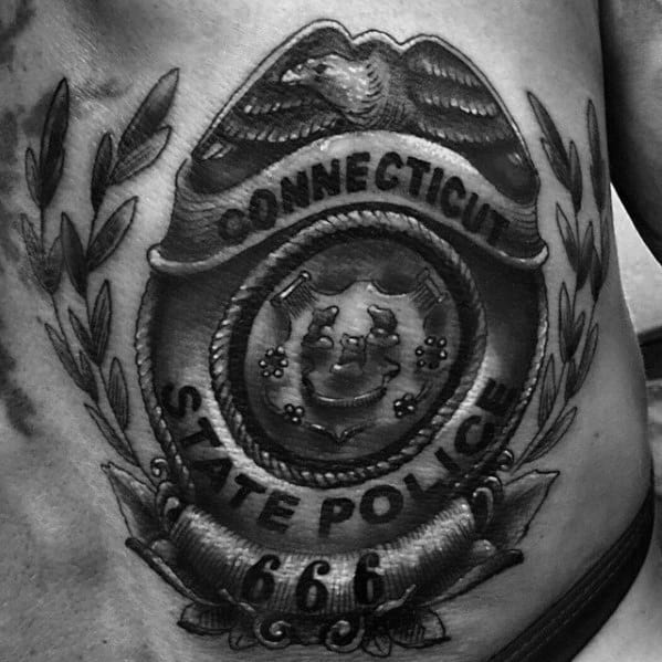 Rib Cage Side Guys Connecticut Police Badge Shaded Black And Grey Ink Tattoo