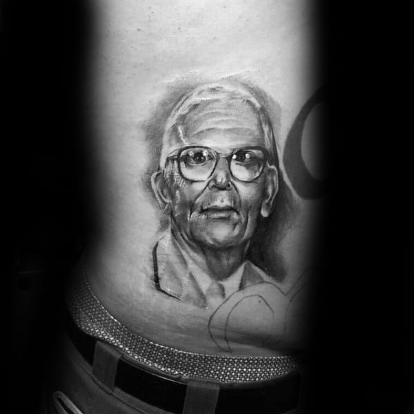 Rib Cage Side Guys Grandpa Portrait Tattoos