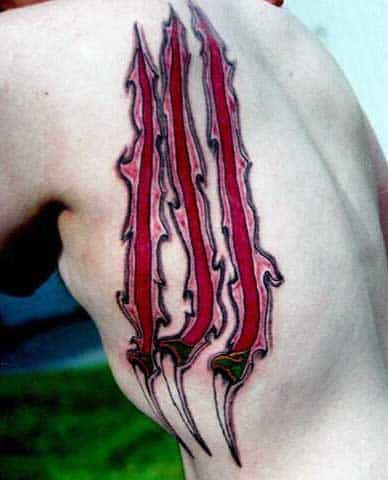 Rib Cage Side Guys Ripped Skin Heart Tattoo