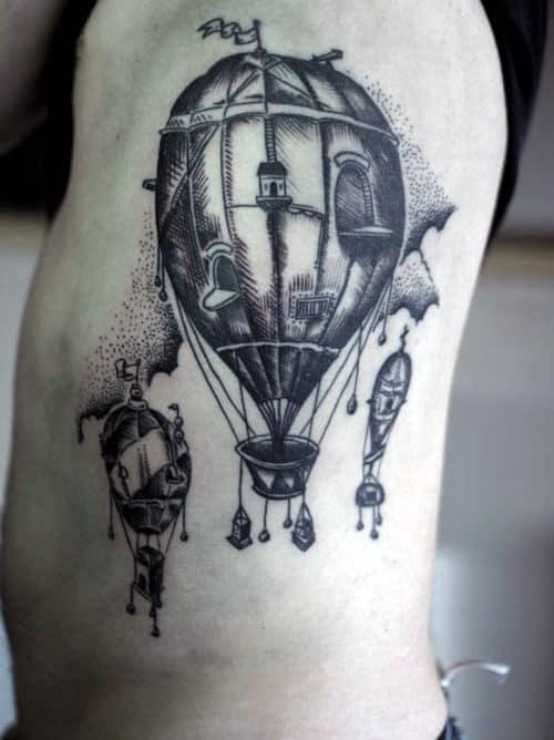 Rib Cage Side Guys Shaded Hot Air Balloon Tattoo Design