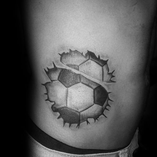 Rib Cage Side Guys Soccer Torn Skin Tattoo Ideas