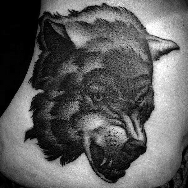 Rib Cage Side Incredible Sick Wolf Tattoos For Men