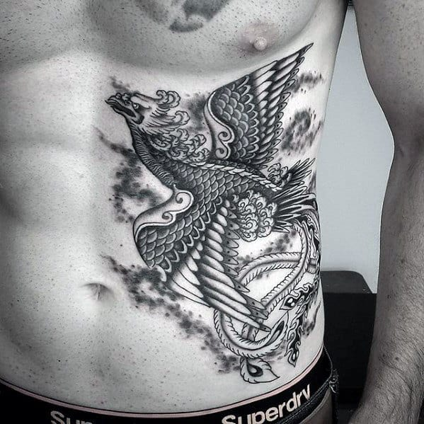 Rib Cage Side Japanese Phoenix Tattoos For Men