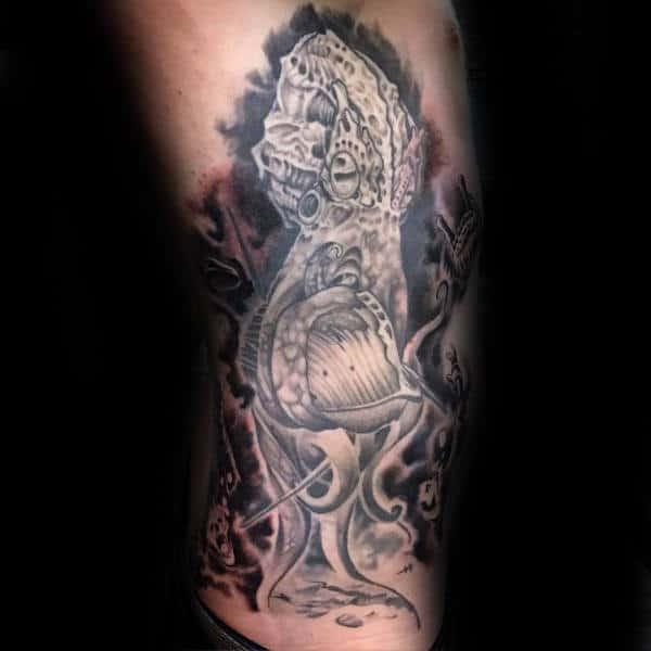 Rib Cage Side Kraken Crushing Sailing Ship Male Tattoo Designs