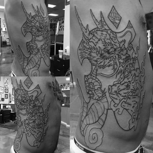 Rib Cage Side Male Boar Dragon Tattoos