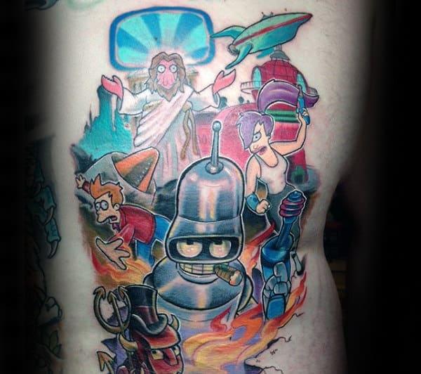 Rib Cage Side Male Futurama Tattoos
