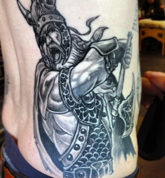 Rib Cage Side Male Norse Viking Tattoos