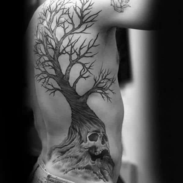 Rib Cage Side Male Skull Tree Tattoo Design Inspiration