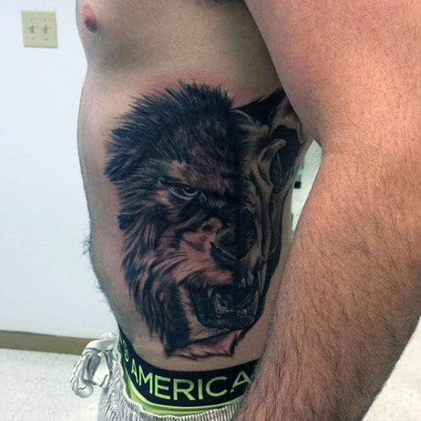 Rib Cage Side Manly Lion Skull Male Tattoo Inspiration