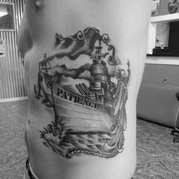Rib Cage Side Masculine Battleship Tattoos For Men