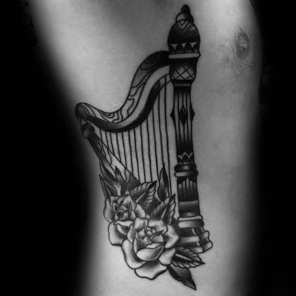 Rib Cage Side Masculine Harp Tattoos For Men
