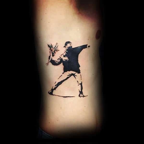 Rib Cage Side Mens Banksy Guy Throwing Flower Tattoo