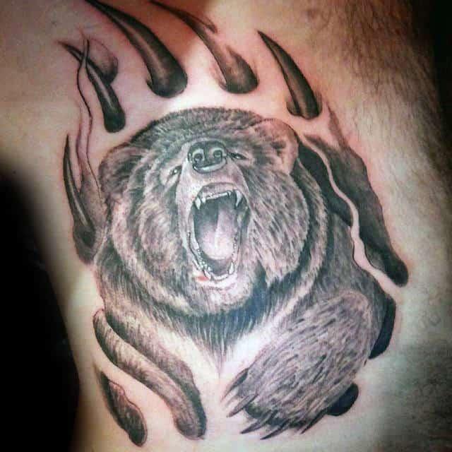 Rib Cage Side Mens Bear Claw Tattoos