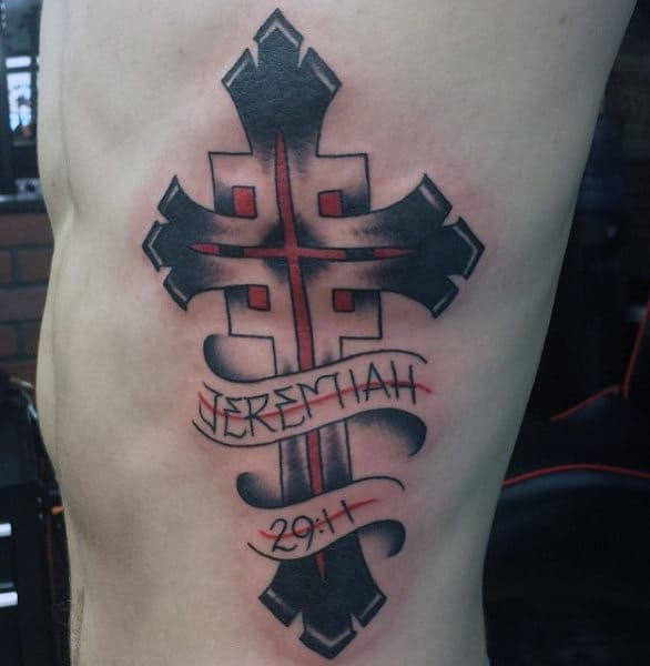 Rib Cage Side Mens Bible Scriptures Tattoo Jeremiah 29 11 With Abstract Cross