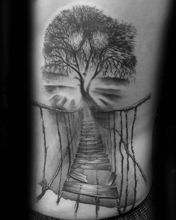 Rib Cage Side Mens Rope Bridge Tree Tattoos