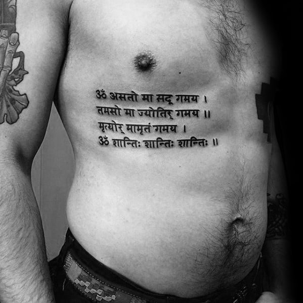 Rib Cage Side Mens Sanskrit Tattoo Design Inspiration