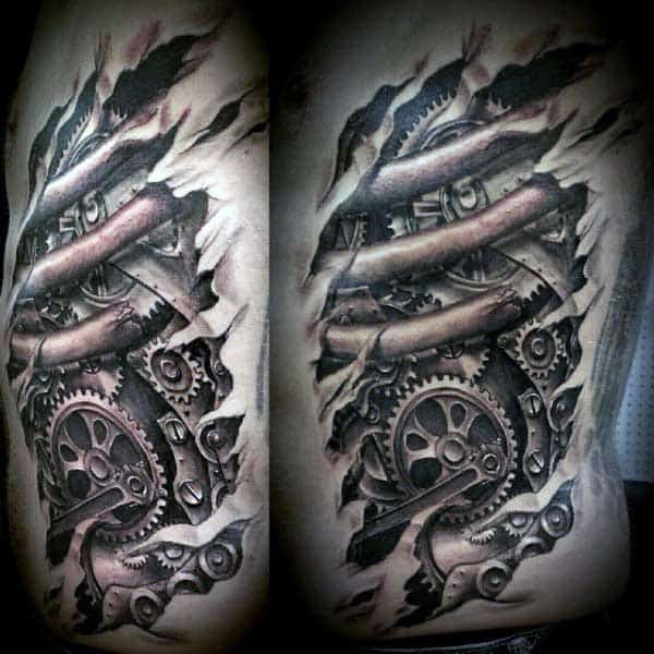 Rib Cage Side Mens Skin Rip Tattoo Of Gears