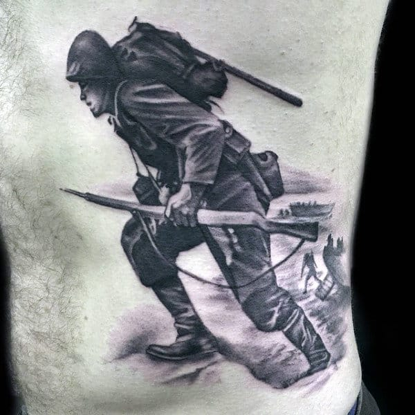 Rib Cage Side Mens Solider Army Tattoo Design Inspiration