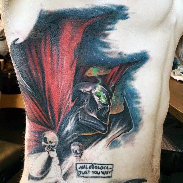 Rib Cage Side Mens Spawn Tattoo Deisgns