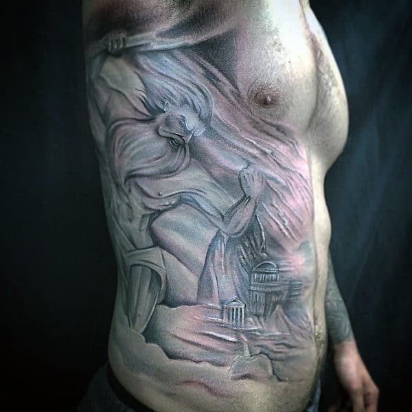 Rib Cage Side Mens Zeus Greek God Tattoos