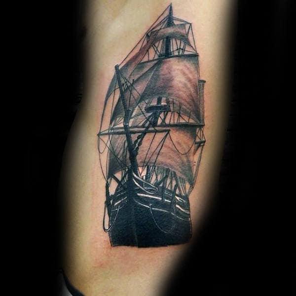 Rib Cage Side Nautical Ship Tattoos For Males