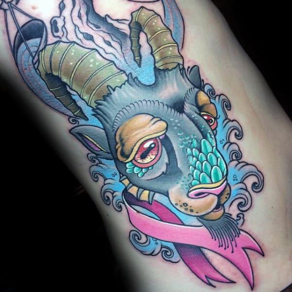 Rib Cage Side New School Mens Capricorn Goat Tattoos