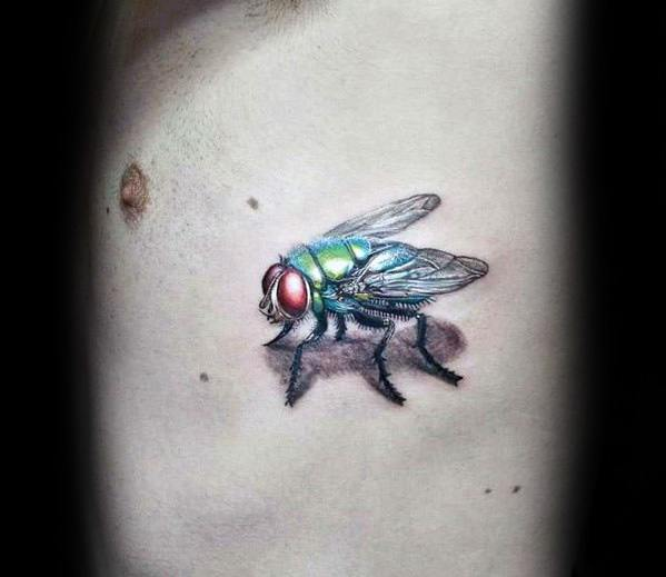 Rib Cage Side Of Body Fly Mens Tattoo Ideas