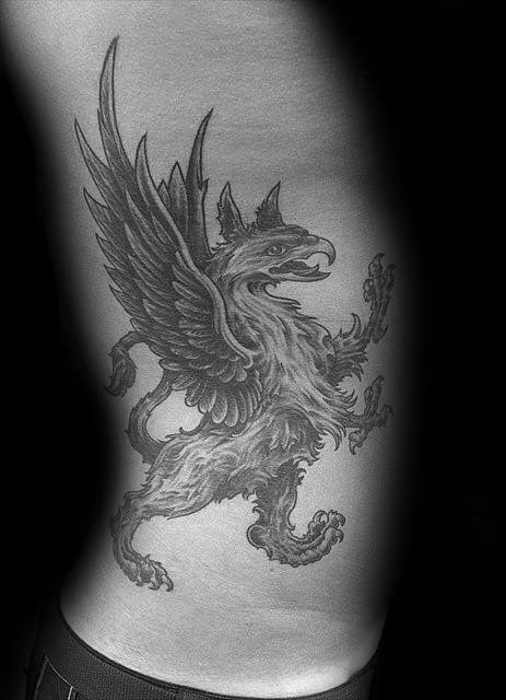 Rib Cage Side Of Body Griffin Tattoo On Man