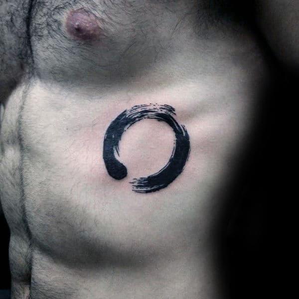 Rib Cage Side Of Body Guys Brush Stroke Circle Tattoo