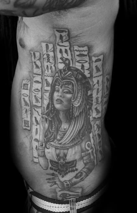 Rib Cage Side Of Body Guys Hieroglyphics Tattoo Designs