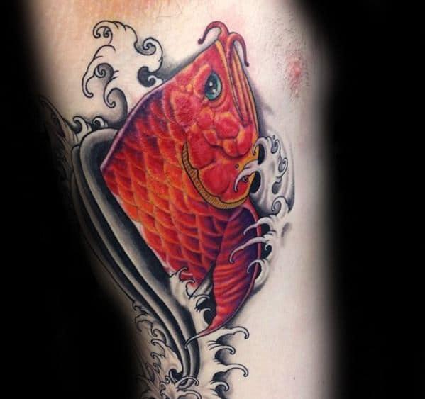 Rib Cage Side Of Body Mens Tattoo With Arowana Design