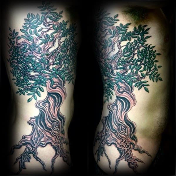 Rib Cage Side Olive Tree Guys Tattoos