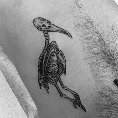 Rib Cage Side Pelican Skeleton Bones Tattoos For Males