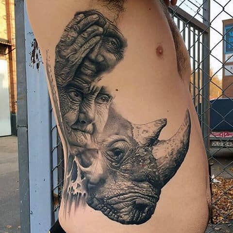 Rib Cage Side Realistic Rhino Tattoo Designs For Guys