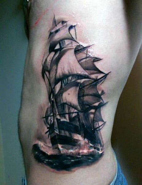 Rib Cage Side Sail Boat Tattoo For Men