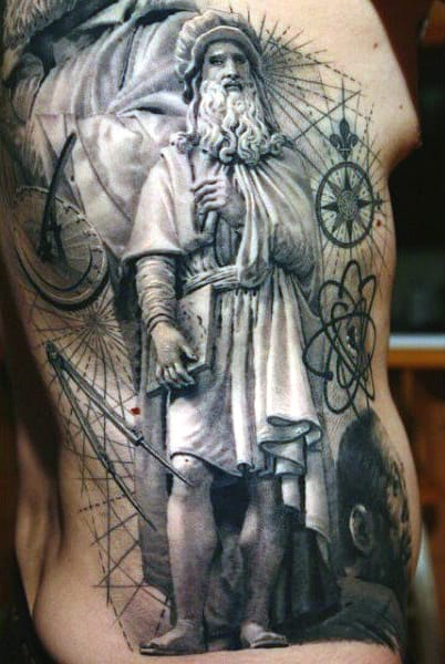 Rib Cage Side Science Tattoo For Men