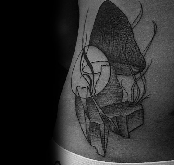 Rib Cage Side Shaded Distinctive Male Mushroom Tattoo Designs