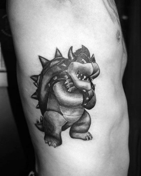 Rib Cage Side Shaded Good Bowser Tattoo Designs For Men