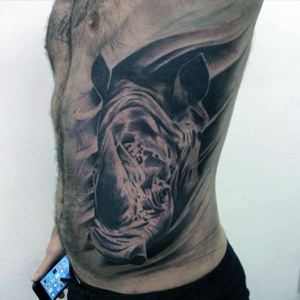 Rib Cage Side Shaded Rhino Male Tattoo Ideas