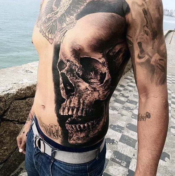 Rib Cage Side Skull Guys Greatest Tattoo Designs