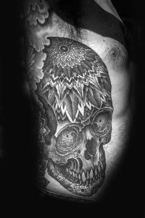Rib Cage Side Skull Mandala Mens Tattoo Ideas