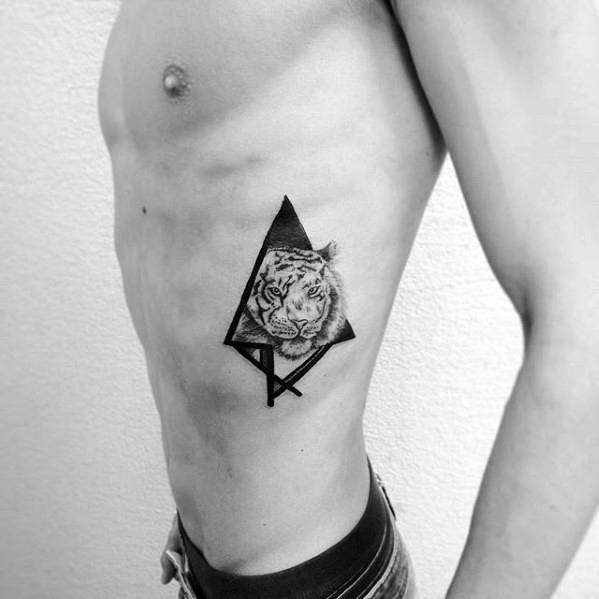 Rib Cage Side Small Manly Tiger Geometric Male Tattoo Ideas