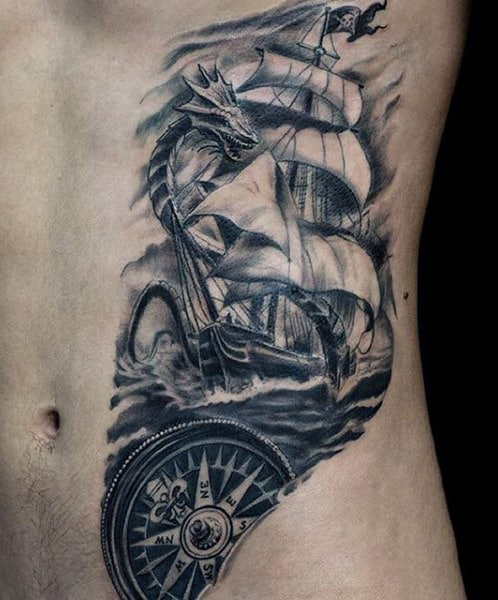 Rib Cage Side Small Ship Tattoo For Guys