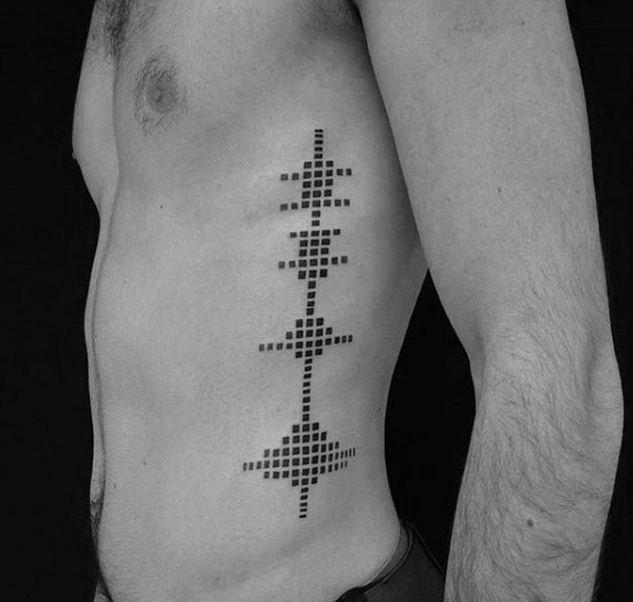 Rib Cage Side Soundwave Pixel Tattoo Ideas For Gentlemen