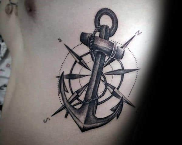 Rib Cage Side Star With Anchor Cool Unique Tattoo Ideas For Men