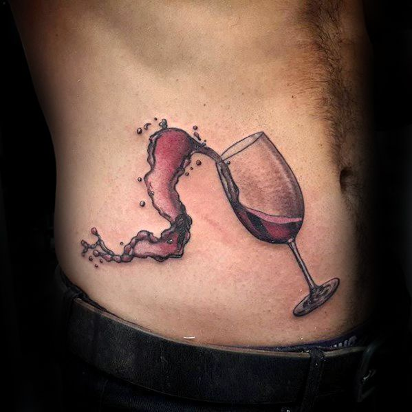 Rib Cage Side Watercolor Glass Masculine Wine Tattoos For Men